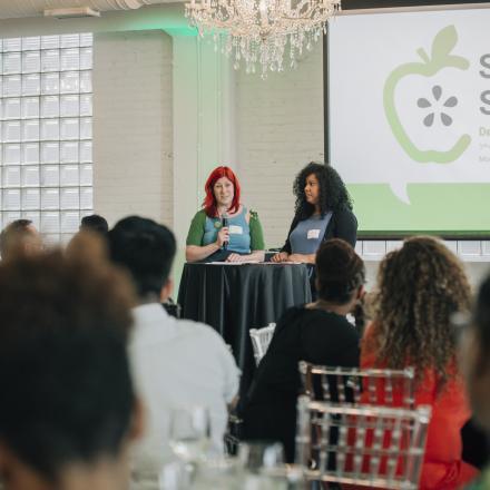 Teachers DeJernet Farder and Jhoanna Maldonado present school climate recommendations